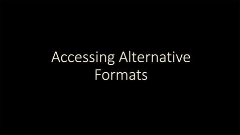 Thumbnail for entry Blackboard Ally: Accessing alternative formats