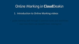 Thumbnail for entry 1 - Introduction to the Online Marking Videos