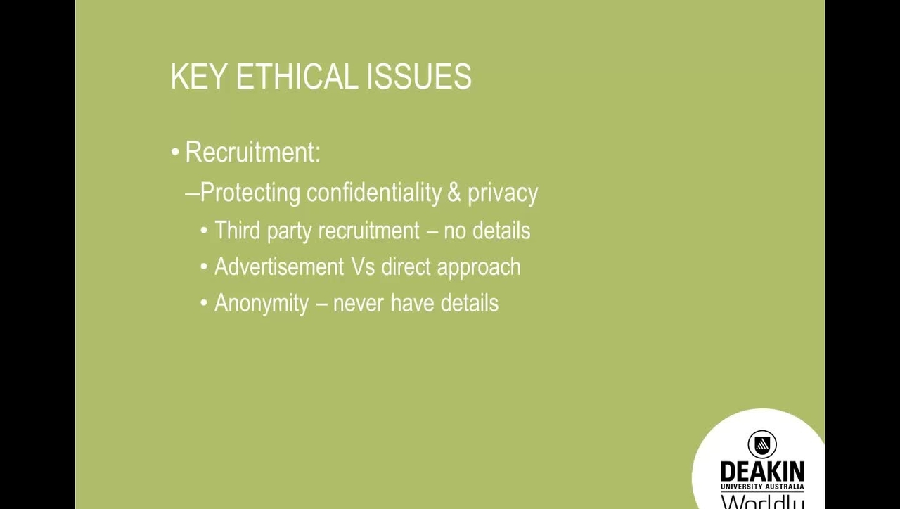 Human Research Ethics, Key ethical issues