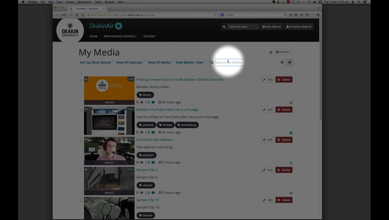 DeakinAir: search for a video in My Media