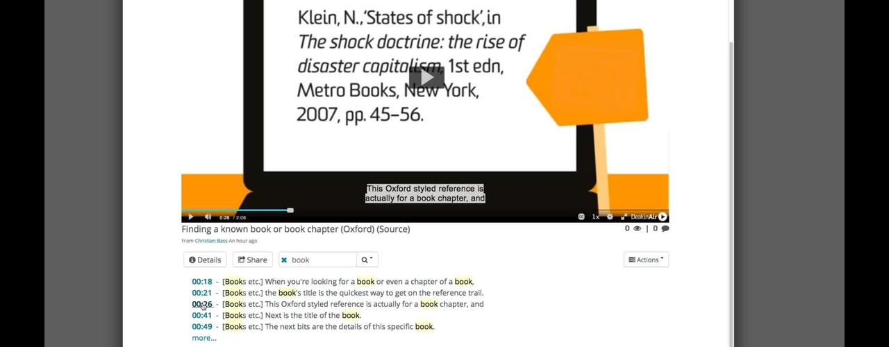 DeakinAir: search within a video using attached captions