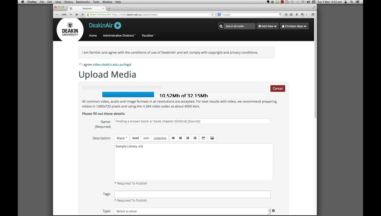 DeakinAir: upload a video and enter metadata