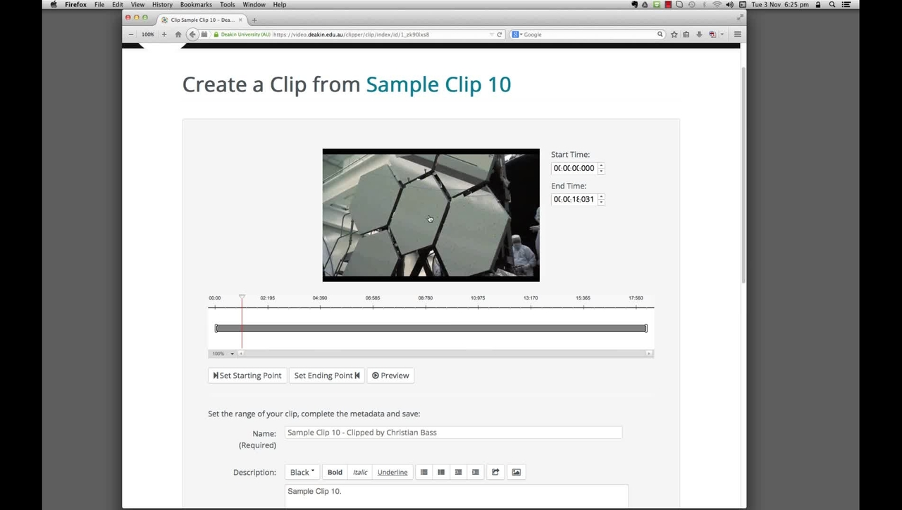 DeakinAir: create a subclip from a master clip