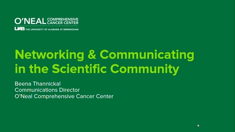 Thumbnail for entry Networking & Communication in the Scientific Community