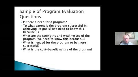 Thumbnail for entry Program Evaluation