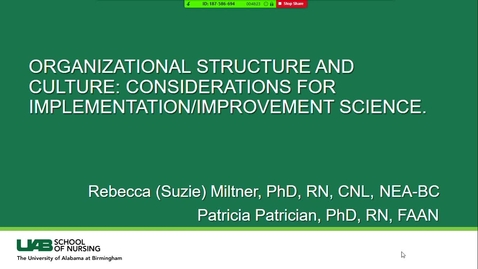 Thumbnail for entry Organizational Structure & Culture for Implementation/Improvement Science