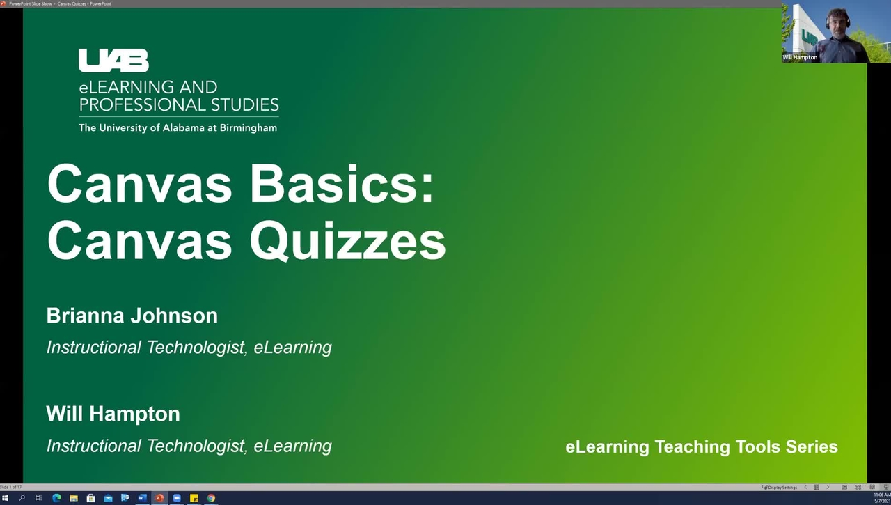 Canvas Basics: Classic Quizzes