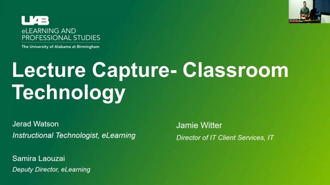 Thumbnail for entry Lecture Capture - Classroom Technology