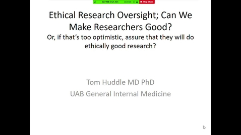 Thumbnail for entry Ethical Research Oversight: Can we Make Researchers Good?