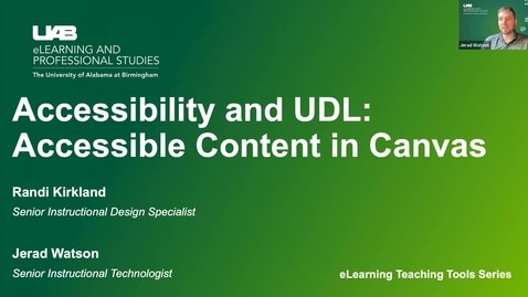 Thumbnail for entry Accessibility & UDL: Creating Accessible Content in Canvas