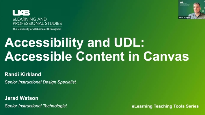 Accessibility & UDL: Creating Accessible Content in Canvas