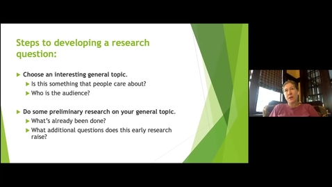 Thumbnail for entry Developing Your Research Question