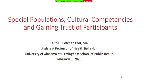 Thumbnail for entry Special Populations, Cultural Competencies & Gaining Trust of Participants/IRB Orientation
