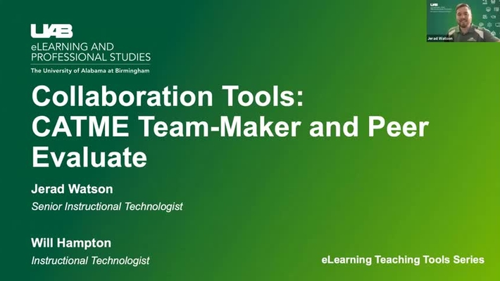 Collaboration Tools: CATME Teammaker and Peer Evaluation