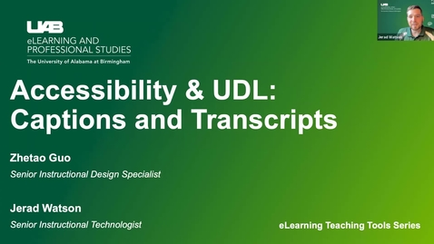 Thumbnail for entry Accessibility & UDL: Captions & Transcripts