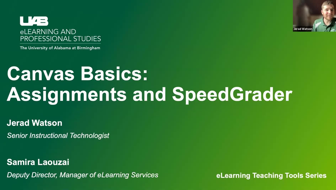Canvas Basics: Assignments & SpeedGrader