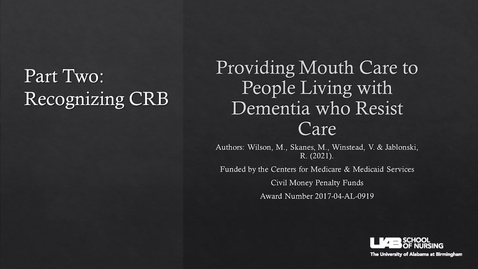 Thumbnail for entry Part 2: Recognizing CRB