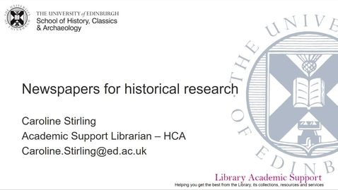 Thumbnail for entry Newspapers for historical research - HCA (online)