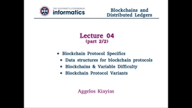 Thumbnail for entry Blockchains and Distributed Ledgers - Lecture 4 (part II/II)
