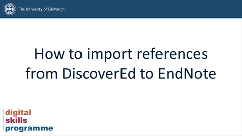 Thumbnail for entry How to import references from DiscoverEd to EndNote