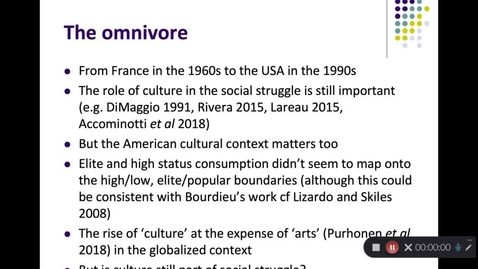 Thumbnail for entry Cultural consumption- From Bourdieu to the Omnivore and beyond Part2