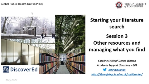 Thumbnail for entry GPHU Introduction to literature searching-  session 3