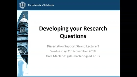 Thumbnail for entry Developing Your Research Questions