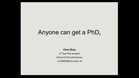 Thumbnail for entry Anyone can get a Phd, by Chen Zhao