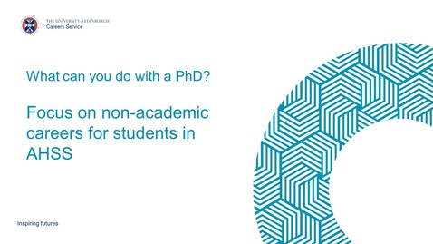 Thumbnail for entry What can you do with a PhD? Focus on non-academic careers for AHSS students