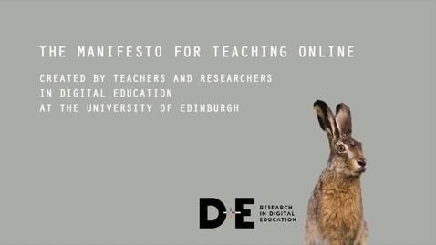 Thumbnail for entry Manifesto for Teaching Online, June 2017