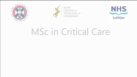 Thumbnail for entry Dr Graham Nimmo: new MSc in Critical Care