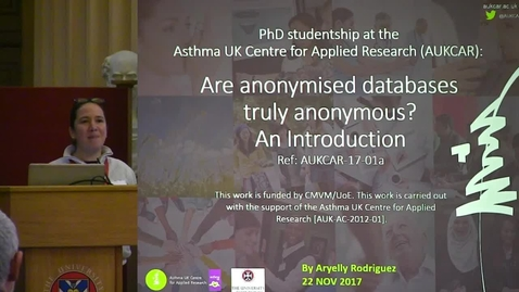 Thumbnail for entry 12 - Are Anonymised Databases Truly Anonymised? An Introduction