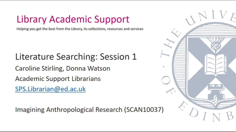 Thumbnail for entry Literature Searching- Session 1 (Social Anthropology)