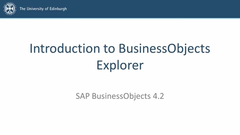 Thumbnail for entry SAP BusinessObjects 4.2: Introduction to BusinessObjects Explorer