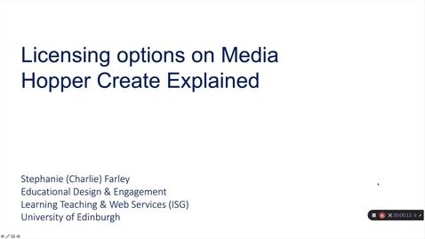 Thumbnail for entry Licensing Options on  Media Hopper Create Explained