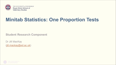 Thumbnail for entry Minitab Statistics: One Proportion Test