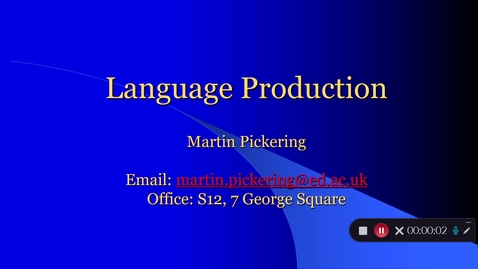 Thumbnail for entry Language Production Lecture 1 Part 1