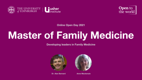 Thumbnail for entry May 2021 Open Day - Master of Family Medicine