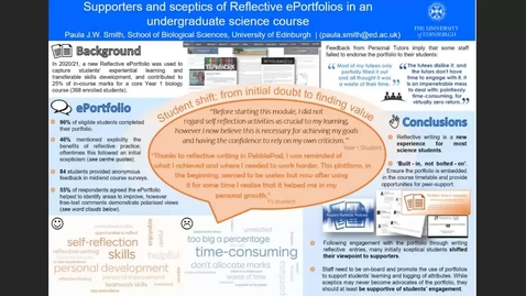 Thumbnail for entry Supporters and sceptics of Reflective ePortfolios in an undergraduate science course
