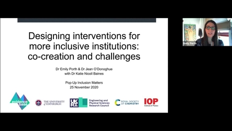 Thumbnail for entry 25th Nov: Designing interventions for more inclusive institutions: co-creation and challenges