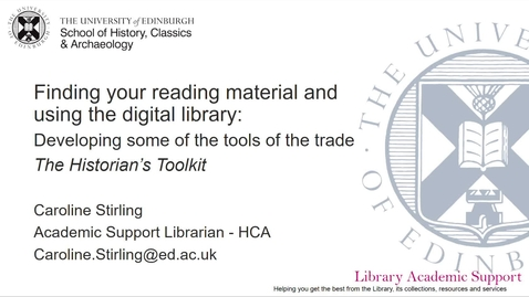 Thumbnail for entry Finding your reading material and using the digital library - Historian's Toolkit