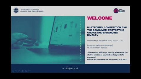 Thumbnail for entry Platforms, competition and the consumer: Protecting choice and enhancing rivalry