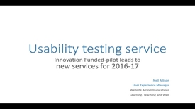 Thumbnail for entry Usability Testing Service: 2016 summary & 2017 plans