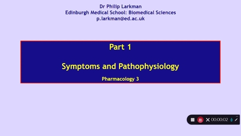 Thumbnail for entry Pharmacology 3: Anxiolytic Drugs - Part 1 Dr Phil Larkman