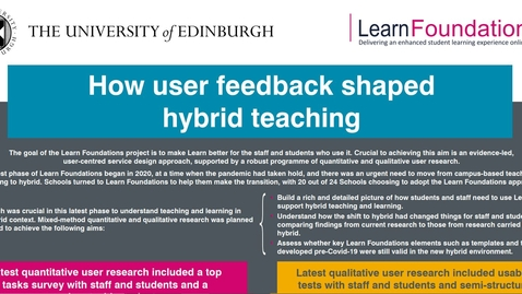 Thumbnail for entry Video accompanying poster 'How user feedback shaped hybrid teaching'