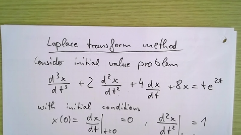 Thumbnail for entry Laplace transform Week 3 Example 1a: Laplace transform method for third order differential equation