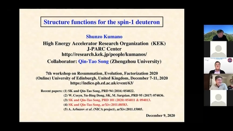 Thumbnail for entry REF2020: Shunzo Kumano- Structure functions for the spin-1 deuteron