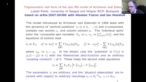 Thumbnail for entry Trigonometric real form of the spin RS model of Krichever and Zabrodin - Laszlo Feher