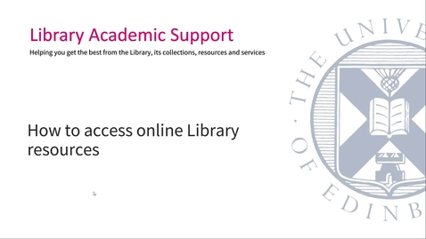 Thumbnail for entry How to access online library resources