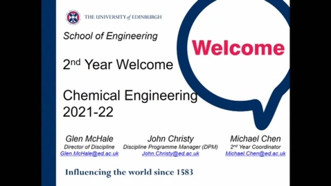 Thumbnail for entry Welcome Back Year 2 Chemical Engineering programmes 2021